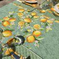 "Rectangular place cotton tablecloth ""Citrons"" green an yellow"