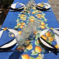 "Provence rectangular placed tablecloth ""Citrons"" blue and yellow from Tissus Toselli"