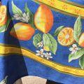 """Nappe provençale rectangulaire placée en coton """"Citrons"""" bleu et Jaune Tissus Toselli"""