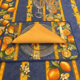 "Rectangular coated cotton tablecloth ""Lemons"" yellow and blue"