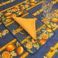 """Nappe provençale rectangulaire en coton enduit """"Citrons""""  jaune et bleu"""
