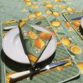 "Rectangular centred coated cotton tablecloth ""Citrons"" green and yellow"