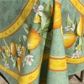 """Rectangular centred coated cotton tablecloth """"Citrons"""" green and yellow"""
