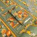 """Nappe provençale rectangulaire en coton enduit """"Citrons"""" jaune et vert"""
