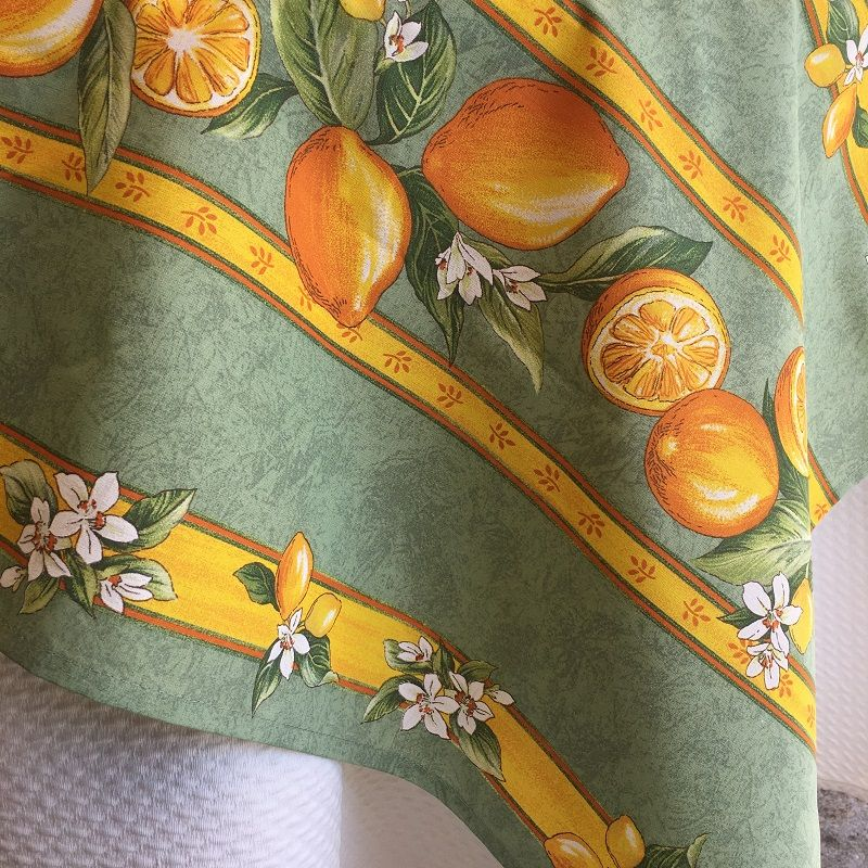 """Rectangular coated cotton tablecloth """"Lemons"""" yellow and green"""
