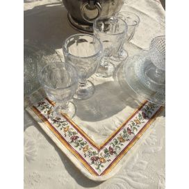 "Jacquard table runner ou square table mats, Delft, bordure ""Moustiers"" red"