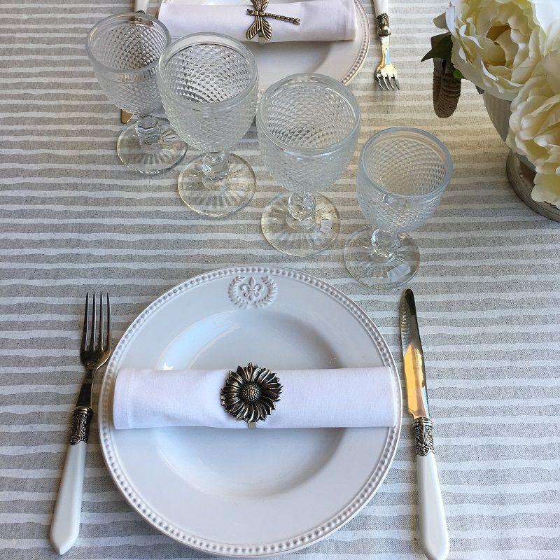 """Rectangular coated cotton tablecloth """"Iris"""" ecru"""