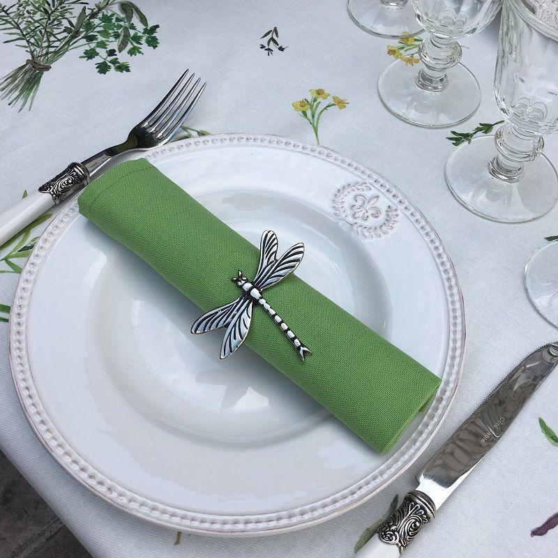 """Serviette de table en coton """"Coucke"""" uni vert"""