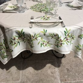 "Square centred cotton tablecloth ""Nyons"" ecru"