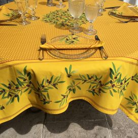 "Rectangular centred cotton tablecloth ""Nyons"" yellow"