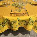 """Nappe provençale rectangulaire placée en coton """"Nyons"""" jaune"""