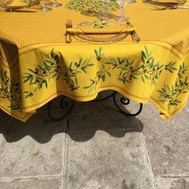 """Nappe provençale carrée placée en coton """"Nyons"""" jaune"""