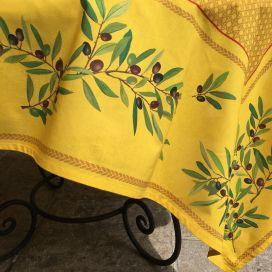 """Nappe provençale rectangulaire en coton enduit """"Nyons"""" Olives jaune"""