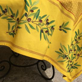 "Rectangular coated cotton tablecloth ""Nyons"" olives jaune"