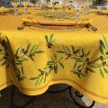 """Rectangular coated cotton tablecloth """"Nyons"""" olives jaune"""