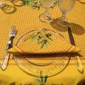 """Nappe provençale carrée en coton enduit """"Nyons"""" Olives jaune"""