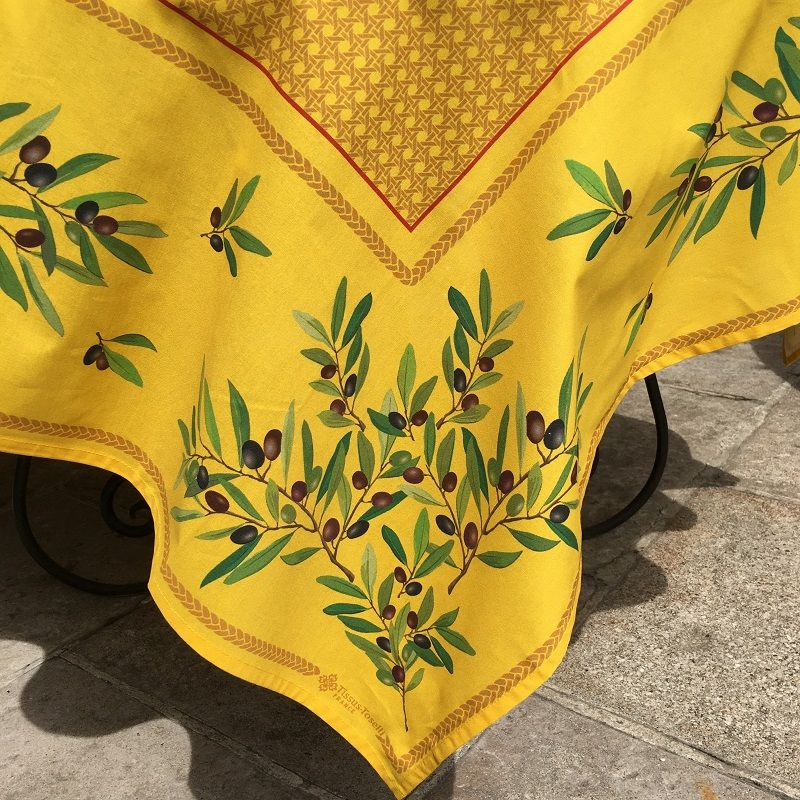 """Square coated cotton tablecloth """"Nyons"""" olives jaune"""