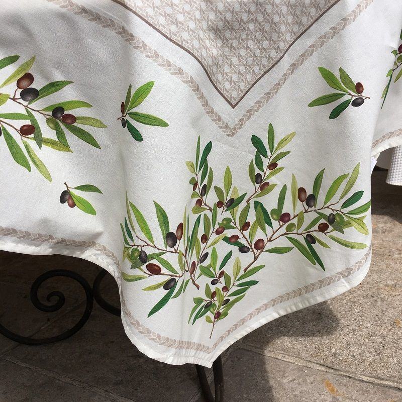 "Square coated cotton tablecloth ""Nyons"" olives ecru"