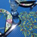 "Rectangular coated cotton tablecloth ""Nyons"" olives blue"