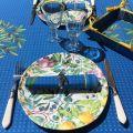 """Nappe provençale rectangulaire placée en coton """"Nyons"""" bleu"""