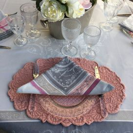 "Jacquard table napkins ""Versailles"" grey anb pink  by Tissus Toselli"