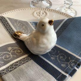 """Serviette de table Jacquard """"Vaucluse"""" gris et bleu, Tissus Toselli"""