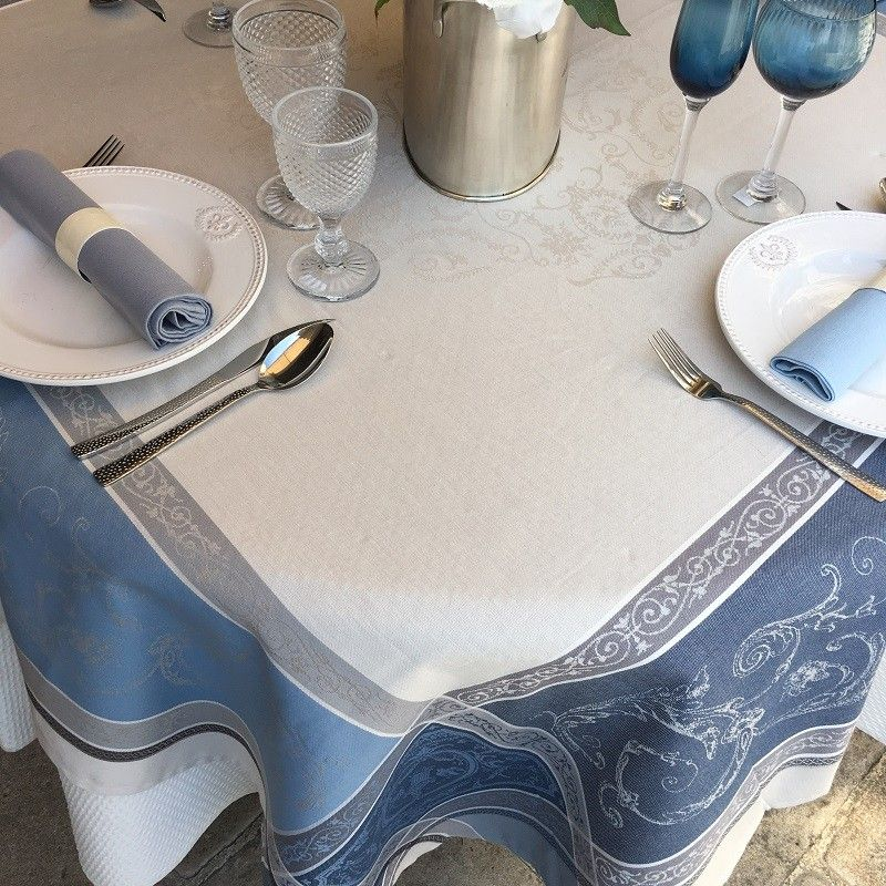 "Square Jacquard tablecloth ""Versailles"" grey and blue, by Tissus Toselli"
