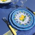 "Square Jacquard tablecloth ""Vaucluse"" blue and yellow, by Tissus Toselli"