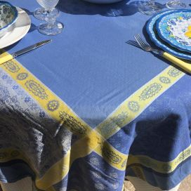 "Sqaure Jacquard tablecloth ""Vaucluse"" blue and yellow, by Tissus Toselli"