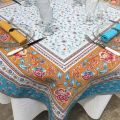 "Rectangular Jacquard tablecloth  ""Roussillon"" ocre and turquoise by Marat d'Avignon"
