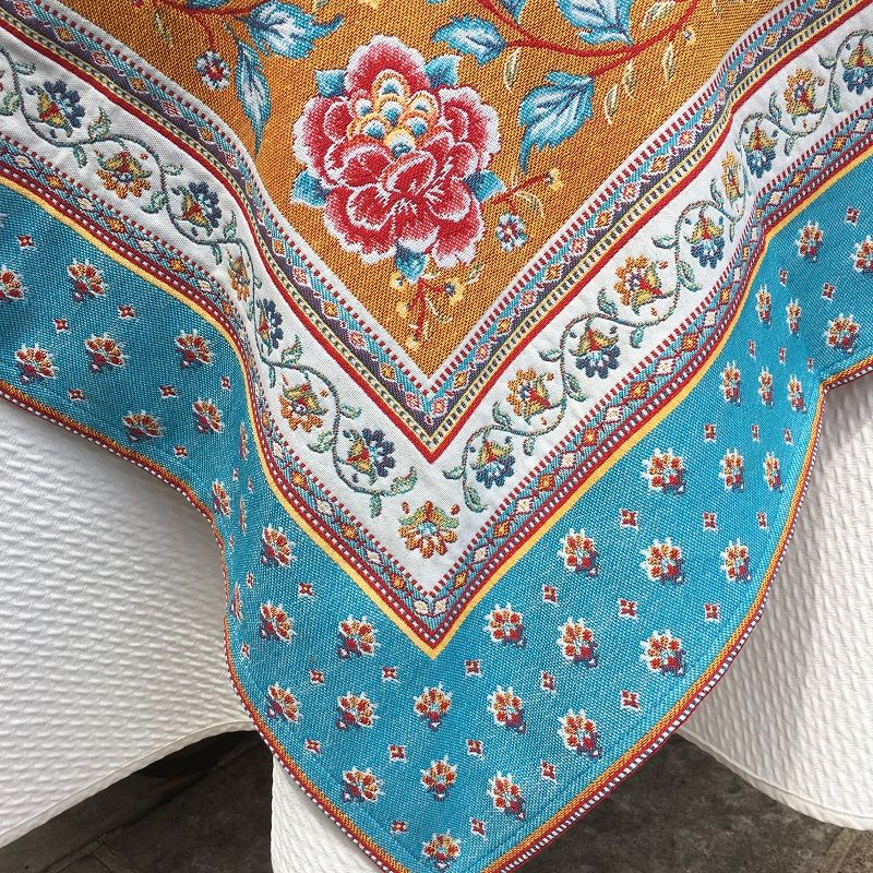 """Square Jacquard tablecloth  """"Roussillon"""" ocre and turquoise by Marat d'Avignon"""
