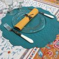 Set de table rond en boutis turquoise, Côté Table