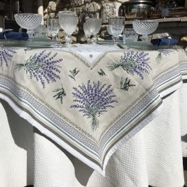 "Square Jacquard tablecloth Lavandes et olives ""Castillon"""