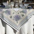 """Square Jacquard tablecloth  Lavandes et Olives """"Castillon """" Marat d'Avignon"""