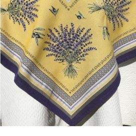 "Square Jacquard tablecloth  Lavandes et Olives ""Castillon"" yellow and lavande, by Marat d'Avignon"