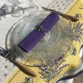 "Square Jacquard tablecloth lavandes et Olives ""Castillon"" yellow and lavande"