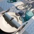 """Nappe carrée Jacquard enduit  """"Sisteron"""" adriatique, perle"""