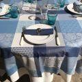"Square coated Jacquard tablecloth, stain resistant Teflon ""Sisteron"" adriatique, perle"
