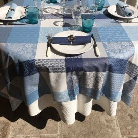 "Square coated Jacquard tablecloth, stain resistant Teflon ""Sisteron"" adriatique, perle"