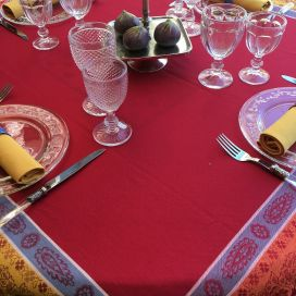"Square Jacquard tablecloth ""Vaucluse"" red and orange, by Tissus Toselli"