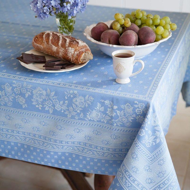 "Rectangular Jacquard tablecloth, reversible ""Durance"" blue, by Marat d'Avignon"