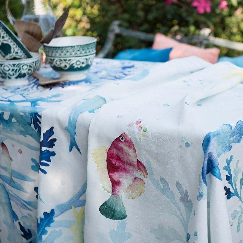 "Tessitura Toscana Tellerie, square coton tablecloth ""Marea"""