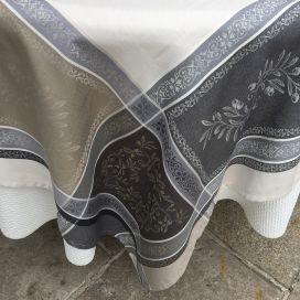 "Rectangular Jacquard tablecloth, Teflon ""Olivia"" ecru and grey, by Tissus Toselli"