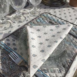 "Allover cotton napkins ""Bastide"" grey and turquoise by ""Marat d'Avignon"""