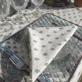 "Allover cotton napkins ""Bastide"" beige and turquoise by ""Marat d'Avignon"""