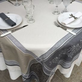 "Square Jacquard tablecloth, Teflon ""Olivia"" ecru and grey, by Tissus Toselli"