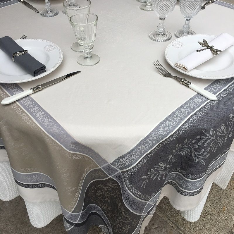 """Square Jacquard tablecloth, Teflon """"Olivia"""" ecru and grey, by Tissus Toselli"""