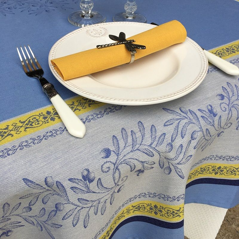 "Rectangular Jacquard tablecloth, Teflon ""Olivia"" blue, yellow, by Tissus Toselli"