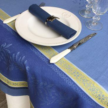 """Serviette de table en coton uni  """"Bleu Cyclades"""""""