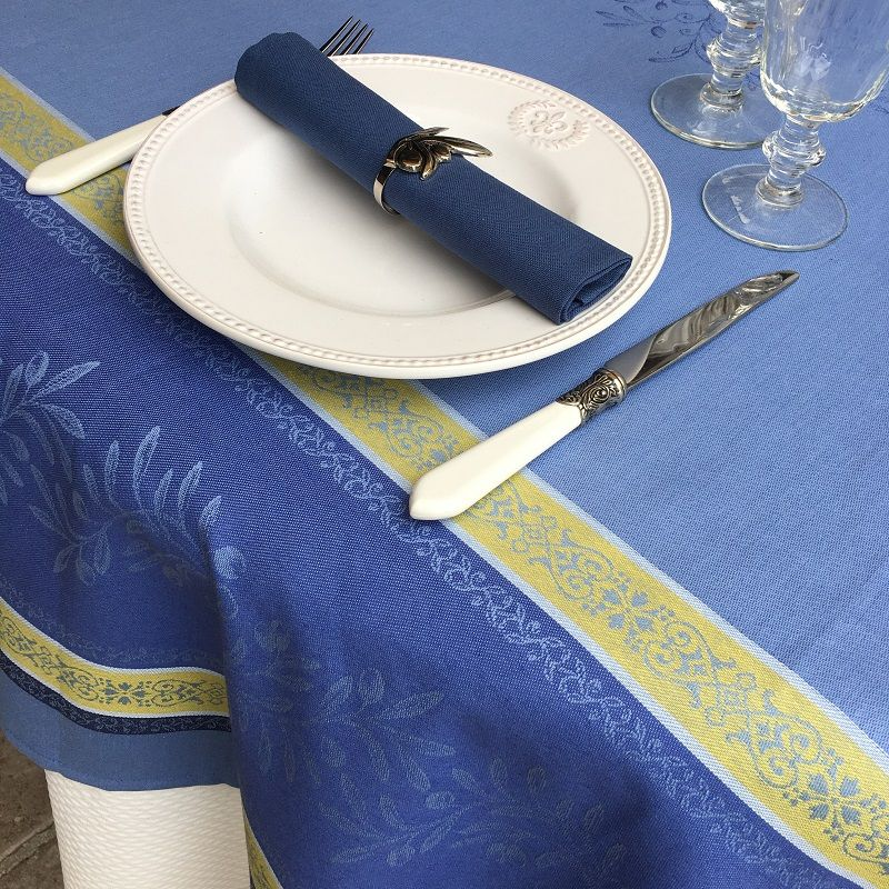 "Serviette de table en coton uni  ""Bleu Cyclades"""